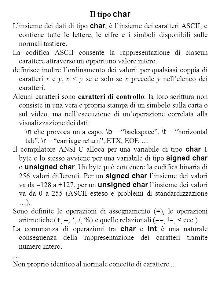 Il tipo char L'insieme dei dati di tipo char, è l'insieme dei caratteri ASCII, e contiene tutte le lettere, le cifre e i simboli disponibili sulle normali tastiere.
