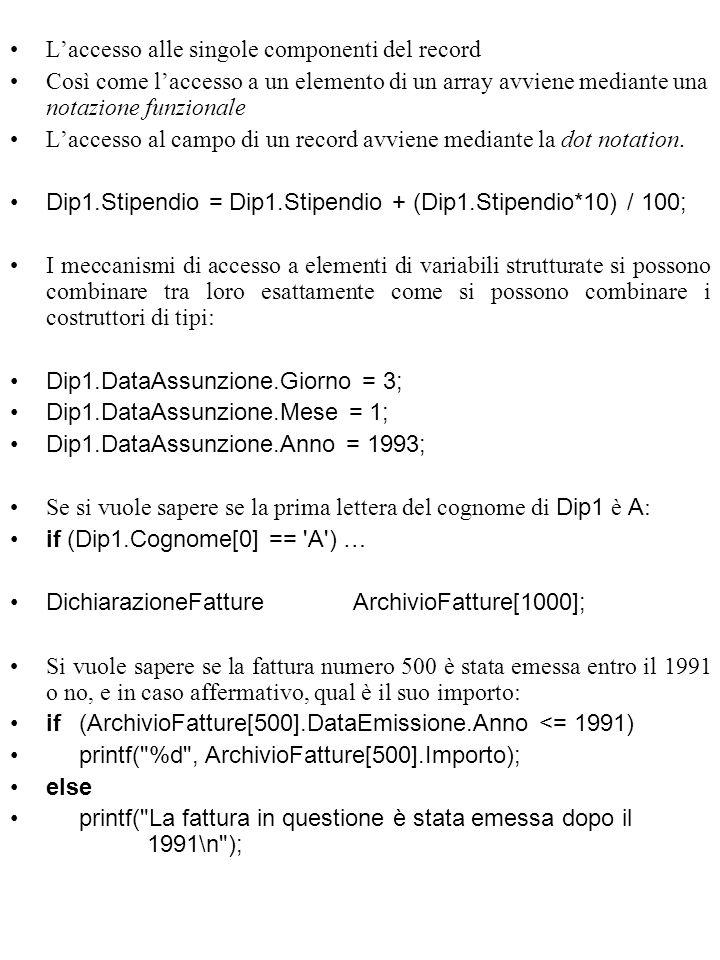 L'accesso alle singole componenti del record Così come l'accesso a un elemento di un array avviene mediante una notazione funzionale L'accesso al campo di un record avviene mediante la dot notation.