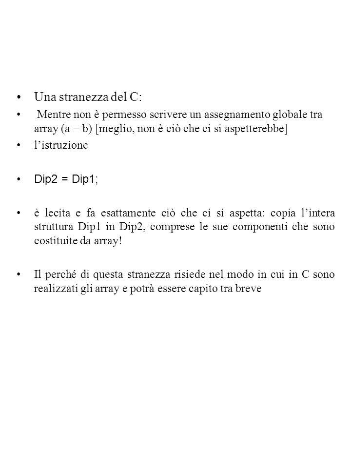 Una stranezza del C: Mentre non è permesso scrivere un assegnamento globale tra array (a = b) [meglio, non è ciò che ci si aspetterebbe] l'istruzione Dip2 = Dip1; è lecita e fa esattamente ciò che ci si aspetta: copia l'intera struttura Dip1 in Dip2, comprese le sue componenti che sono costituite da array.