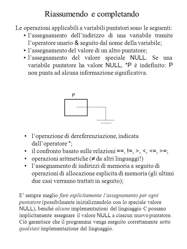 Riassumendo e completando Le operazioni applicabili a variabili puntatori sono le seguenti: l'assegnamento dell'indirizzo di una variabile tramite l'operatore unario & seguito dal nome della variabile; l'assegnamento del valore di un altro puntatore; l'assegnamento del valore speciale NULL.
