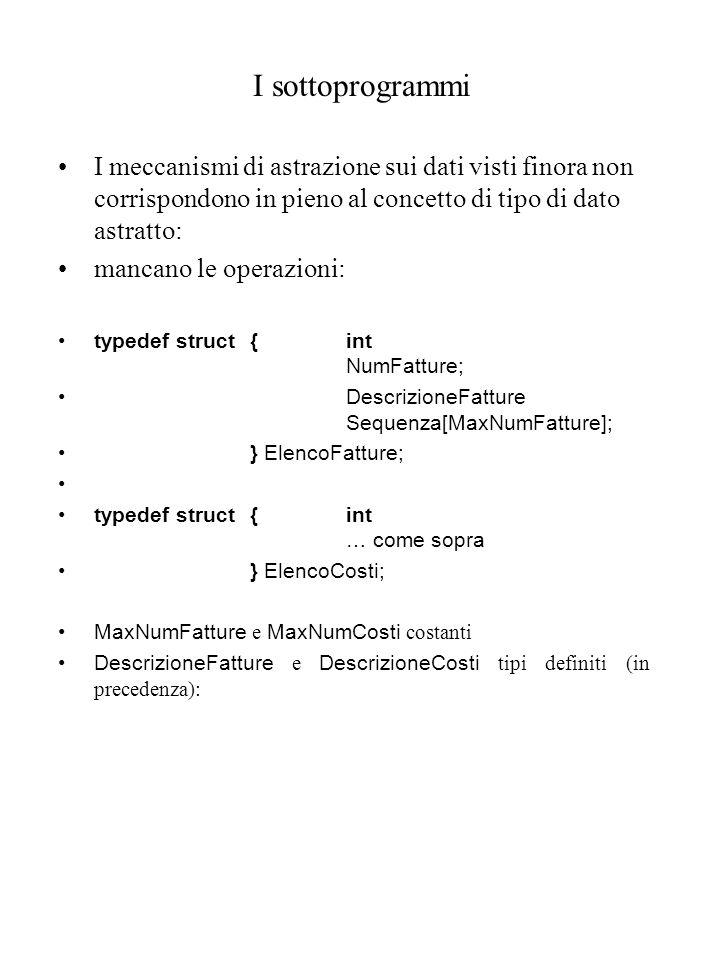 I sottoprogrammi I meccanismi di astrazione sui dati visti finora non corrispondono in pieno al concetto di tipo di dato astratto: mancano le operazioni: typedef struct{int NumFatture; DescrizioneFatture Sequenza[MaxNumFatture]; } ElencoFatture; typedef struct{int … come sopra } ElencoCosti; MaxNumFatture e MaxNumCosti costanti DescrizioneFatture e DescrizioneCosti tipi definiti (in precedenza):