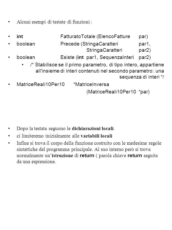 Alcuni esempi di testate di funzioni : intFatturatoTotale (ElencoFatturepar) booleanPrecede (StringaCaratteripar1, StringaCaratteri par2) booleanEsiste (intpar1, SequenzaInteri par2) /* Stabilisce se il primo parametro, di tipo intero, appartiene all insieme di interi contenuti nel secondo parametro: una sequenza di interi */ MatriceReali10Per10*MatriceInversa (MatriceReali10Per10 *par) Dopo la testata seguono le dichiarazioni locali.