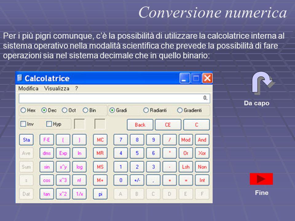 Conversione numerica Per i più pigri comunque, c'è la possibilità di utilizzare la calcolatrice interna al sistema operativo nella modalità scientific