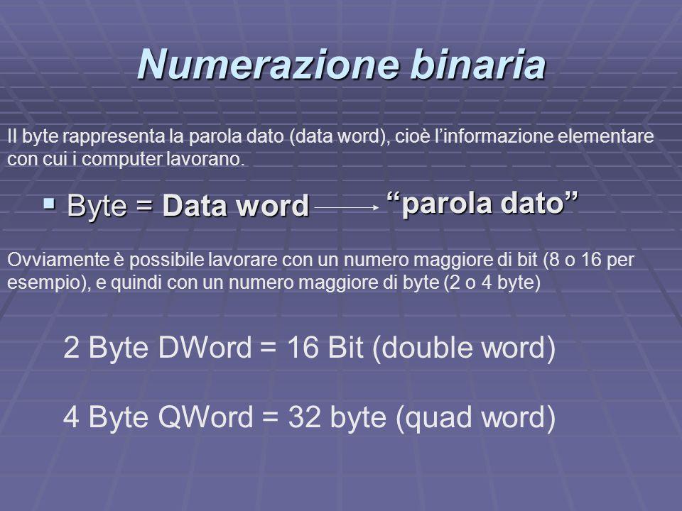 " Byte = Data word ""parola dato"" 2 Byte DWord = 16 Bit (double word) 4 Byte QWord = 32 byte (quad word) Il byte rappresenta la parola dato (data word)"