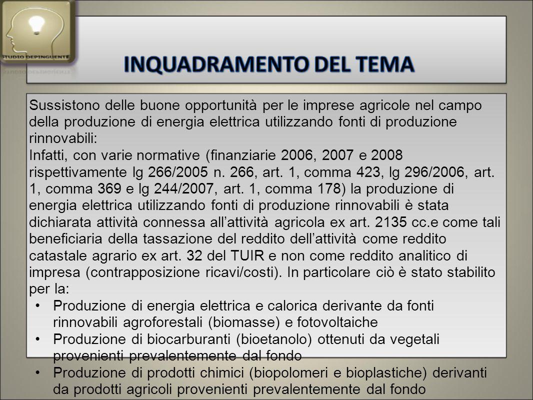Sussistono delle buone opportunità per le imprese agricole nel campo della produzione di energia elettrica utilizzando fonti di produzione rinnovabili: Infatti, con varie normative (finanziarie 2006, 2007 e 2008 rispettivamente lg 266/2005 n.