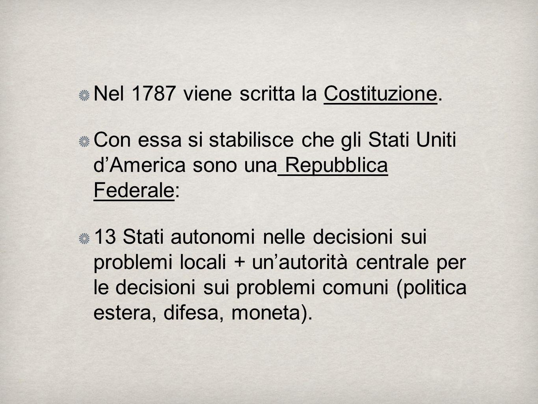 Nel 1787 viene scritta la Costituzione.