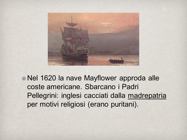 Nel 1620 la nave Mayflower approda alle coste americane.