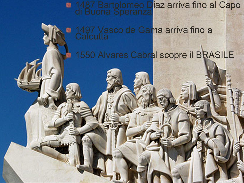 1487 Bartolomeo Diaz arriva fino al Capo di Buona Speranza 1497 Vasco de Gama arriva fino a Calcutta 1550 Alvares Cabral scopre il BRASILE