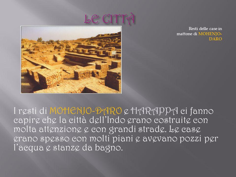 Resti delle case in mattone di MOHENJO- DARO I resti di MOHENJO-DARO e HARAPPA ci fanno capire che la città dell'Indo erano costruite con molta attenz