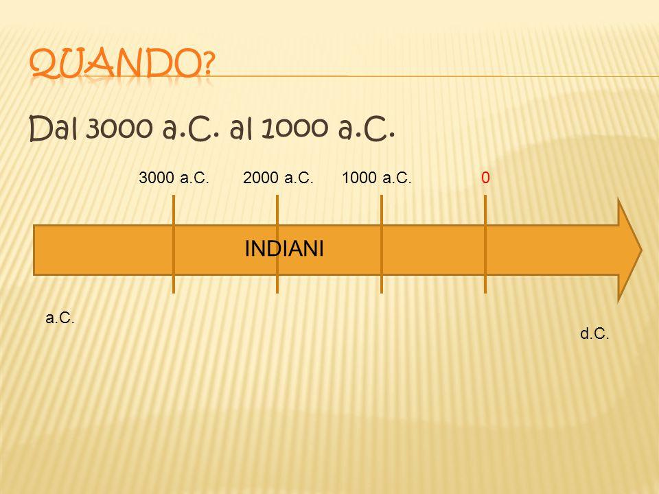 Dal 3000 a.C. al 1ooo a.C. 3000 a.C.2000 a.C.1000 a.C.0 INDIANI a.C. d.C.