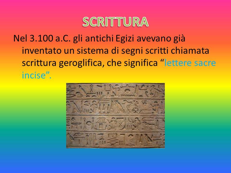 """Nel 3.100 a.C. gli antichi Egizi avevano già inventato un sistema di segni scritti chiamata scrittura geroglifica, che significa """"lettere sacre incise"""