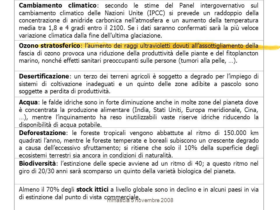 mmascia 5 novembre 2008 Cambiamento climatico: secondo le stime del Panel intergovernativo sul cambiamento climatico delle Nazioni Unite (IPCC) si prevede un raddoppio della concentrazione di anidride carbonica nell'atmosfera e un aumento della temperatura media tra 1,8 e 4 gradi entro il 2100.