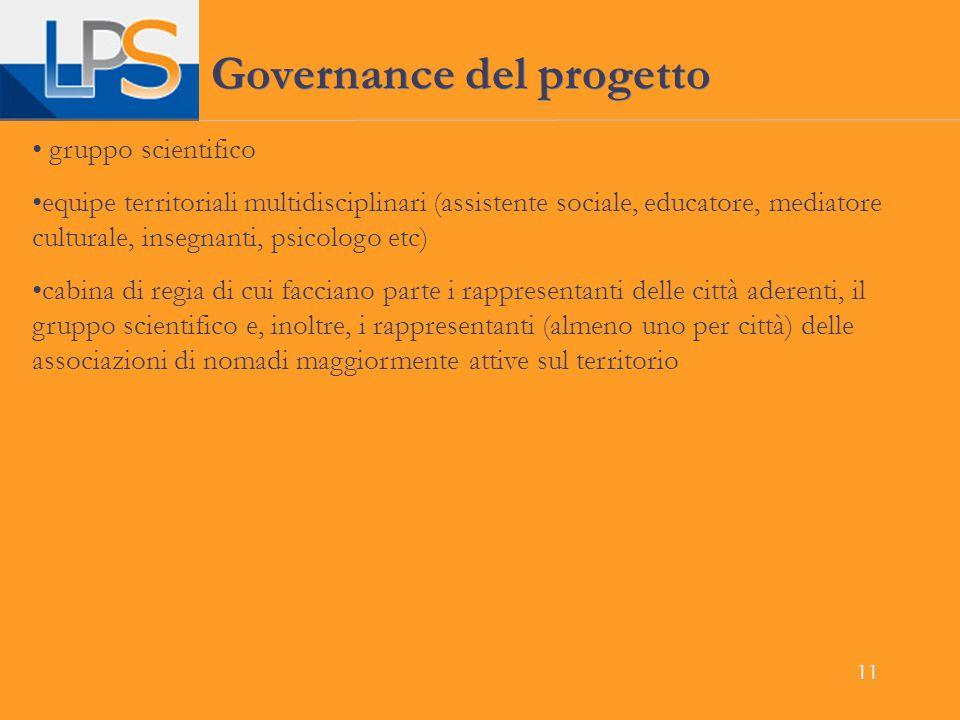11 Governance del progetto gruppo scientifico equipe territoriali multidisciplinari (assistente sociale, educatore, mediatore culturale, insegnanti, p