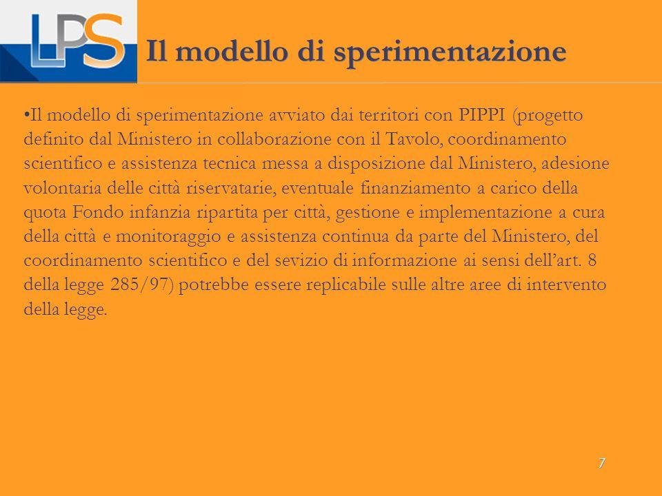 7 Il modello di sperimentazione Il modello di sperimentazione avviato dai territori con PIPPI (progetto definito dal Ministero in collaborazione con i