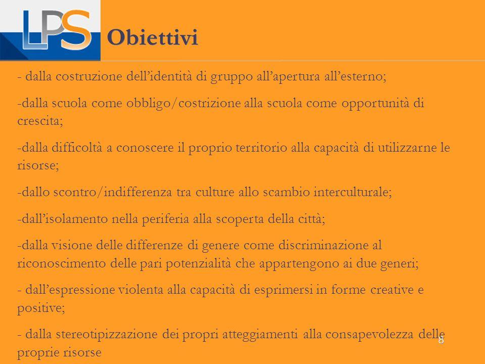 8 Obiettivi - dalla costruzione dell'identità di gruppo all'apertura all'esterno; -dalla scuola come obbligo/costrizione alla scuola come opportunità