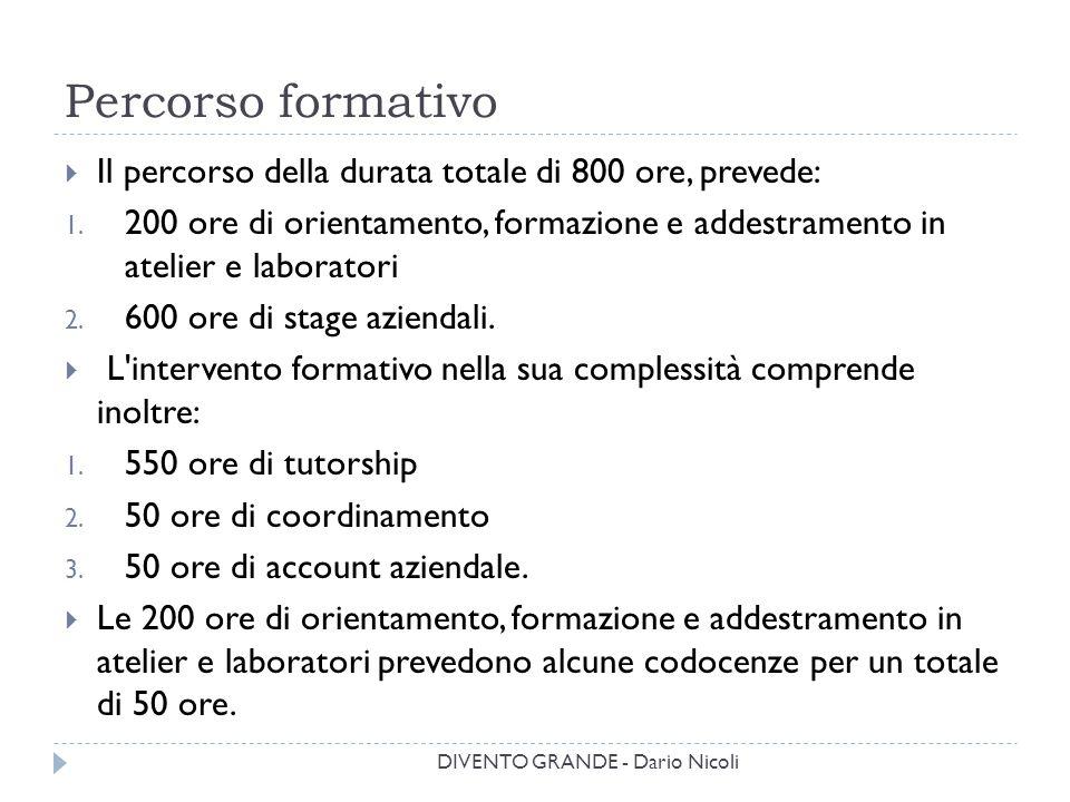 Percorso formativo DIVENTO GRANDE - Dario Nicoli  Il percorso della durata totale di 800 ore, prevede: 1. 200 ore di orientamento, formazione e addes