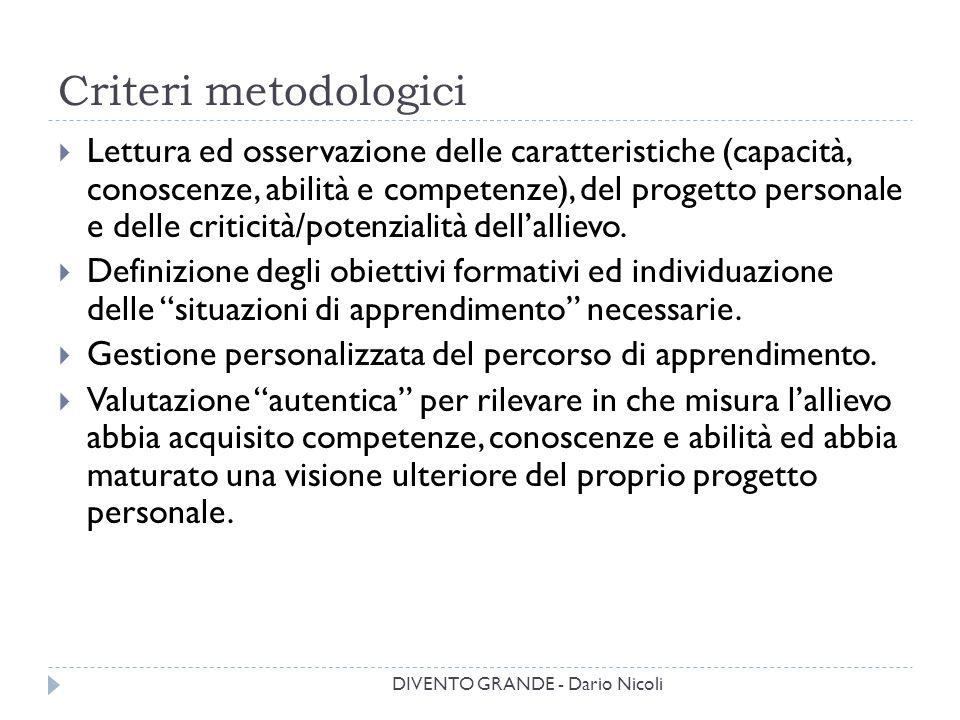 Criteri metodologici  Lettura ed osservazione delle caratteristiche (capacità, conoscenze, abilità e competenze), del progetto personale e delle crit