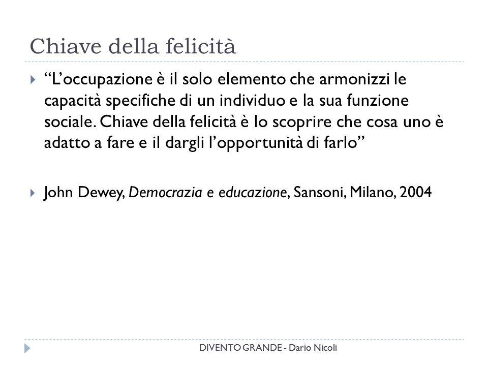 """DIVENTO GRANDE - Dario Nicoli Chiave della felicità DIVENTO GRANDE - Dario Nicoli  """"L'occupazione è il solo elemento che armonizzi le capacità specif"""