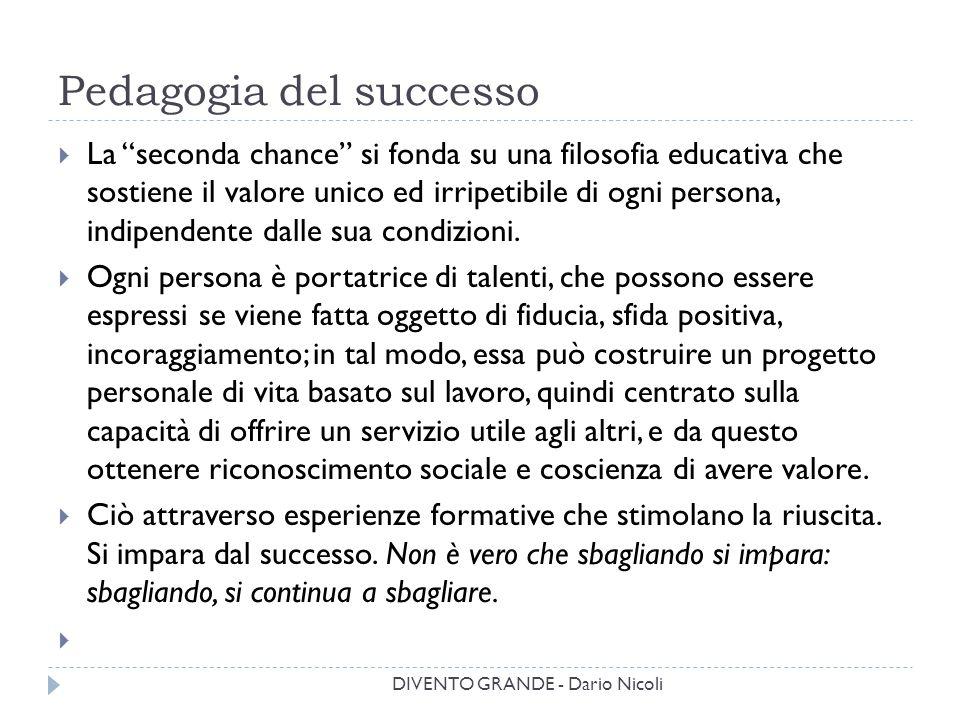 """Pedagogia del successo  La """"seconda chance"""" si fonda su una filosofia educativa che sostiene il valore unico ed irripetibile di ogni persona, indipen"""