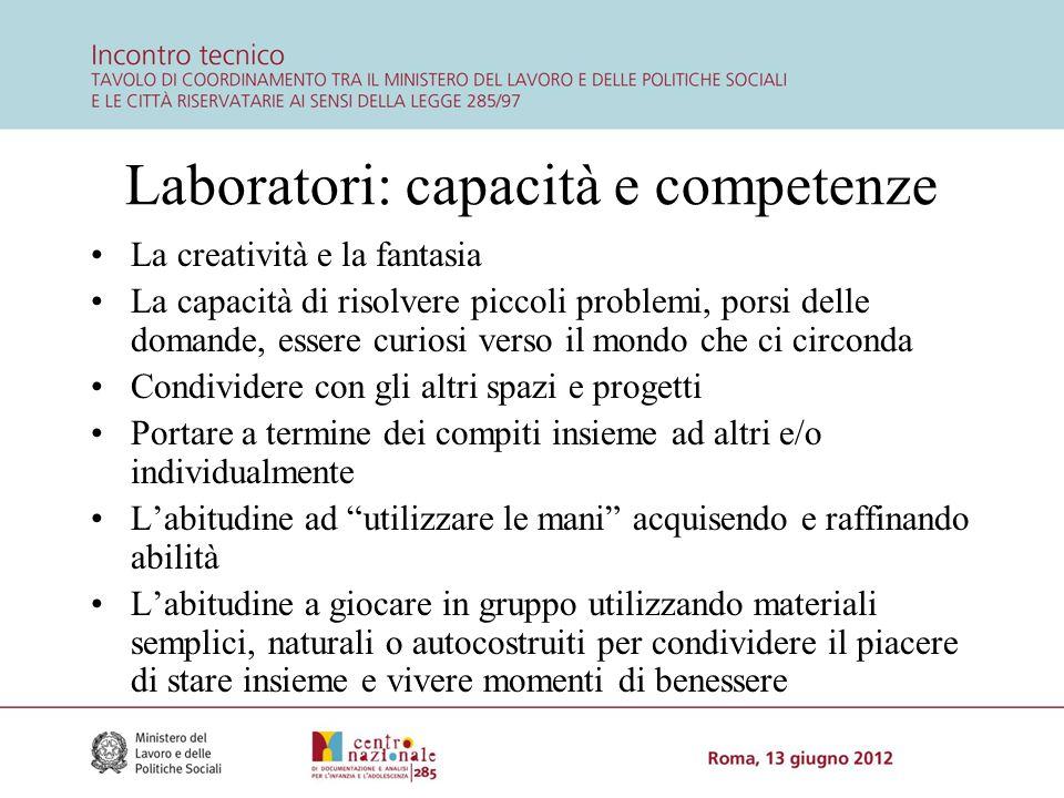 Laboratori: capacità e competenze La creatività e la fantasia La capacità di risolvere piccoli problemi, porsi delle domande, essere curiosi verso il
