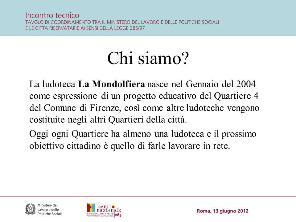 Chi siamo? La ludoteca La Mondolfiera nasce nel Gennaio del 2004 come espressione di un progetto educativo del Quartiere 4 del Comune di Firenze, così