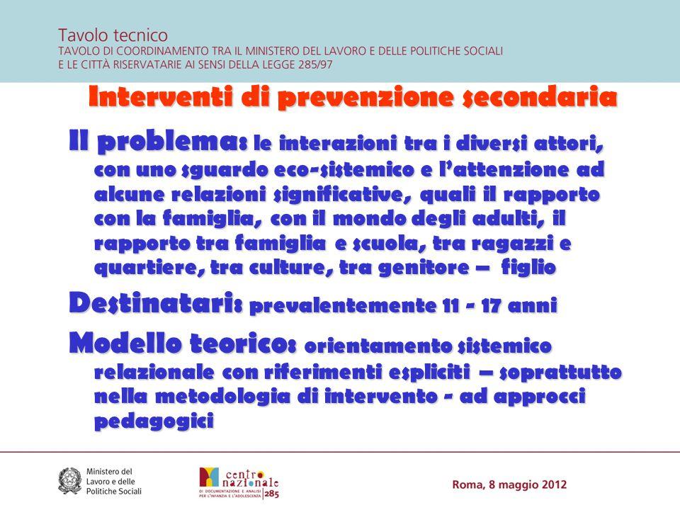 Interventi di prevenzione secondaria Interventi di prevenzione secondaria Il problema: le interazioni tra i diversi attori, con uno sguardo eco-sistem