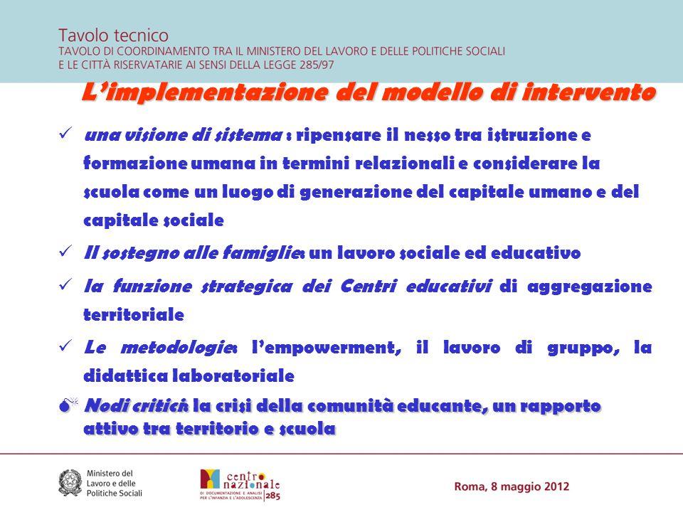 L'implementazione del modello di intervento una visione di sistema : ripensare il nesso tra istruzione e formazione umana in termini relazionali e con