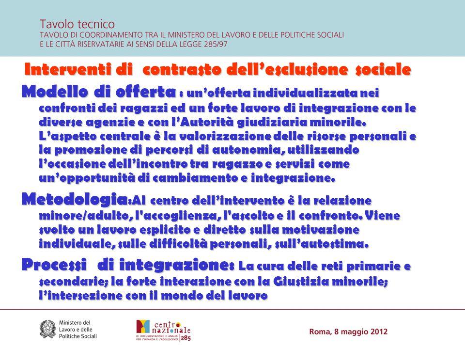 Interventi di contrasto dell'esclusione sociale Modello di offerta : un'offerta individualizzata nei confronti dei ragazzi ed un forte lavoro di integ