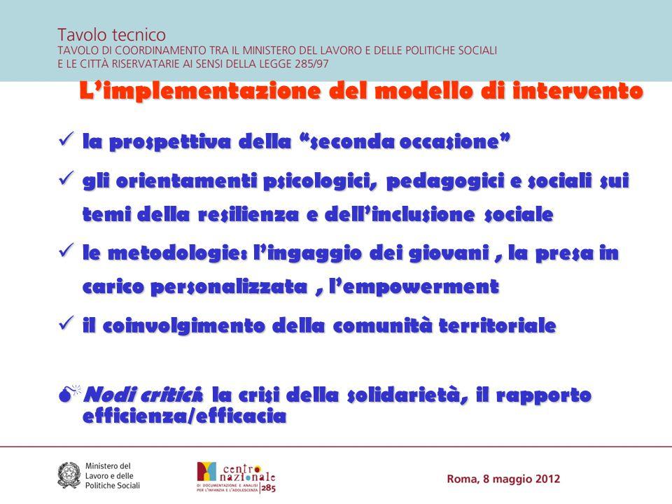 """L'implementazione del modello di intervento la prospettiva della """"seconda occasione"""" la prospettiva della """"seconda occasione"""" gli orientamenti psicolo"""