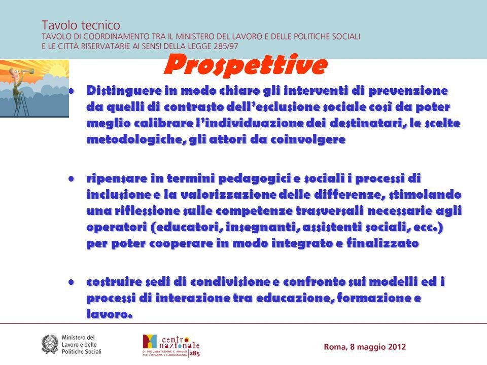 Prospettive Distinguere in modo chiaro gli interventi di prevenzione da quelli di contrasto dell'esclusione sociale così da poter meglio calibrare l'i
