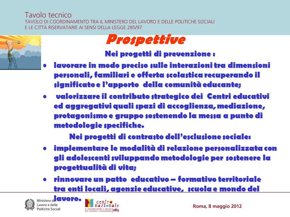Prospettive Nei progetti di prevenzione : lavorare in modo preciso sulle interazioni tra dimensioni personali, familiari e offerta scolastica recupera