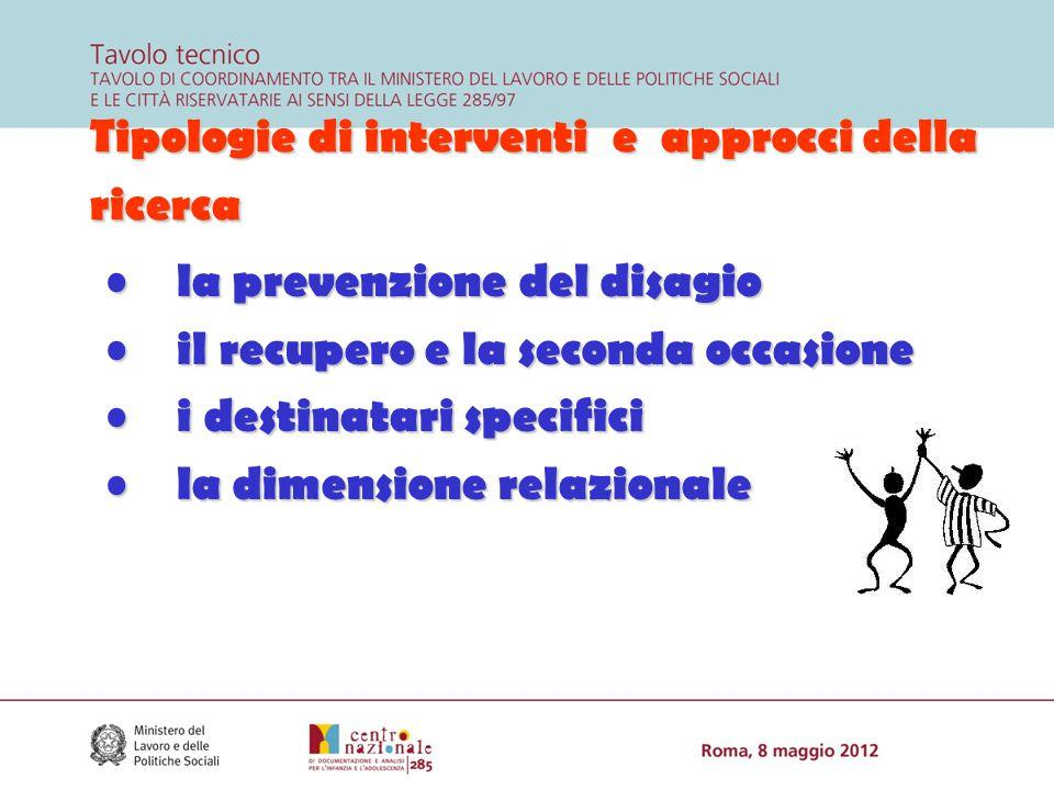 Tipologie di interventi e approcci della ricerca la prevenzione del disagio la prevenzione del disagio il recupero e la seconda occasione il recupero