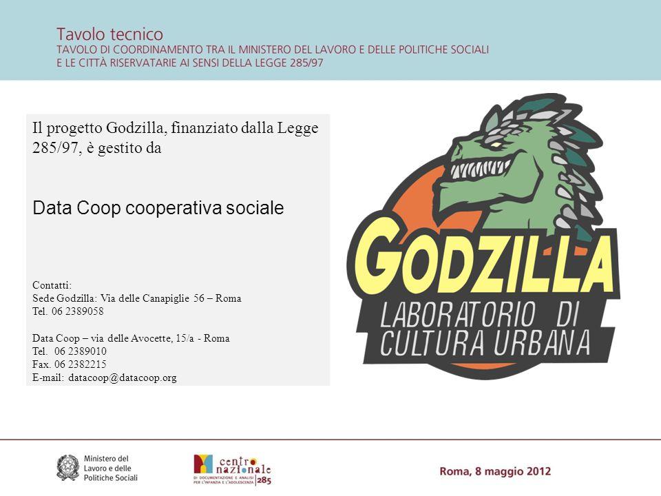 Il progetto Godzilla, finanziato dalla Legge 285/97, è gestito da Data Coop cooperativa sociale Contatti: Sede Godzilla: Via delle Canapiglie 56 – Roma Tel.