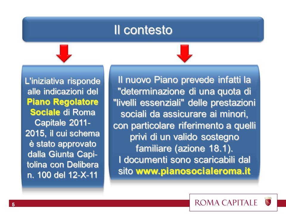 Il contesto 5 L iniziativa risponde alle indicazioni del Piano Regolatore Sociale di Roma Capitale 2011- 2015, il cui schema è stato approvato dalla Giunta Capi- tolina con Delibera n.