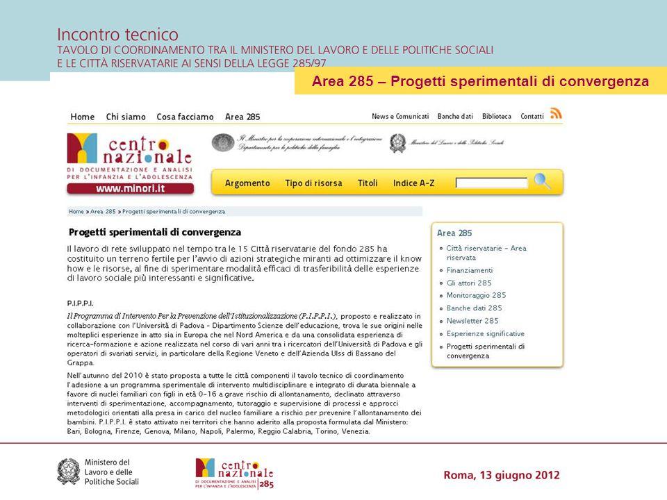 Area 285 – Progetti sperimentali di convergenza