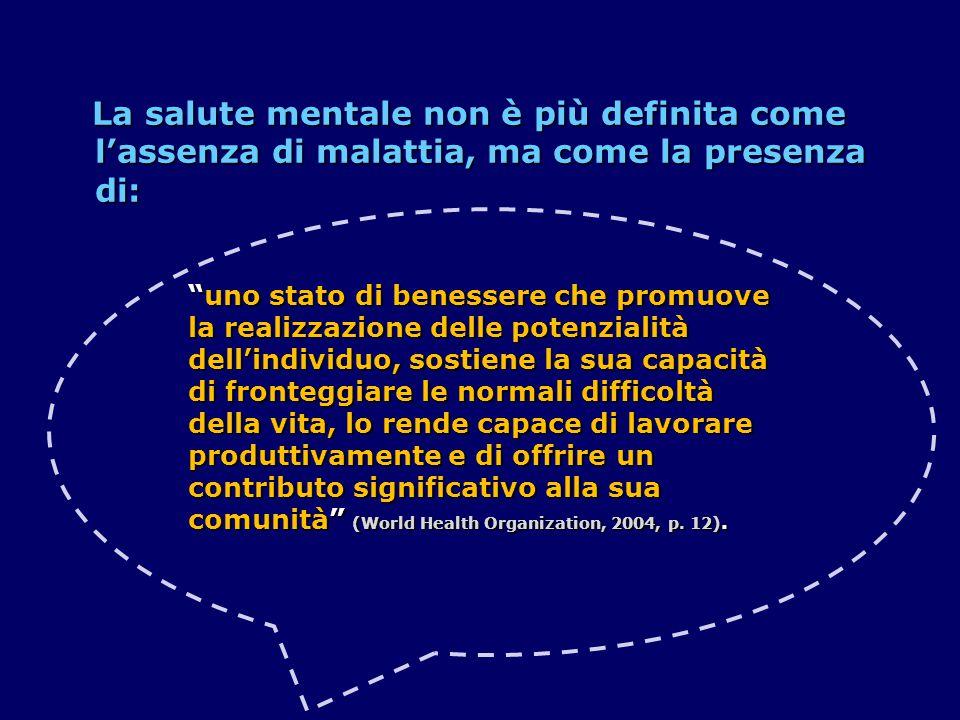 La salute mentale non è più definita come l'assenza di malattia, ma come la presenza di: La salute mentale non è più definita come l'assenza di malatt