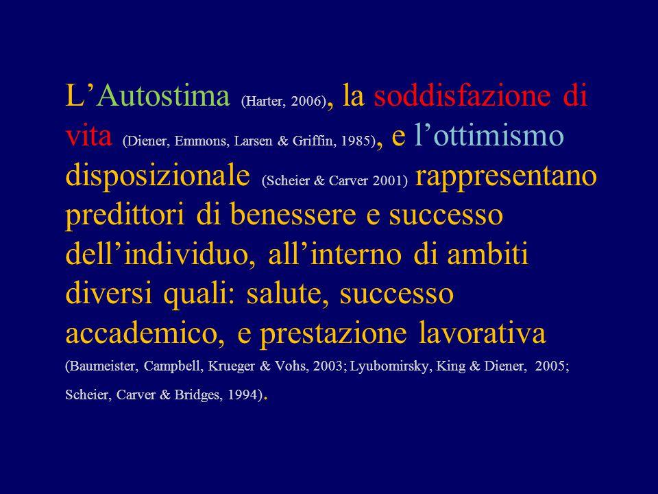 L'Autostima (Harter, 2006), la soddisfazione di vita (Diener, Emmons, Larsen & Griffin, 1985), e l'ottimismo disposizionale (Scheier & Carver 2001) ra