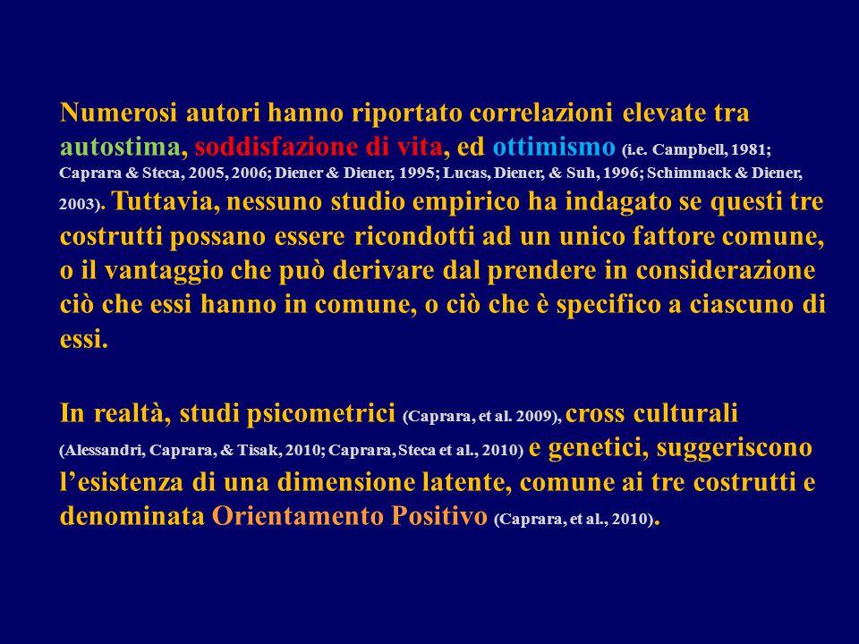 Numerosi autori hanno riportato correlazioni elevate tra autostima, soddisfazione di vita, ed ottimismo (i.e. Campbell, 1981; Caprara & Steca, 2005, 2