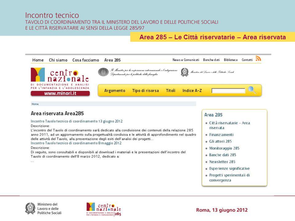L'Area 285 - Finanziamenti