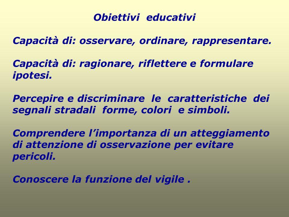 Obiettivi educativi Capacità di: osservare, ordinare, rappresentare. Capacità di: ragionare, riflettere e formulare ipotesi. Percepire e discriminare