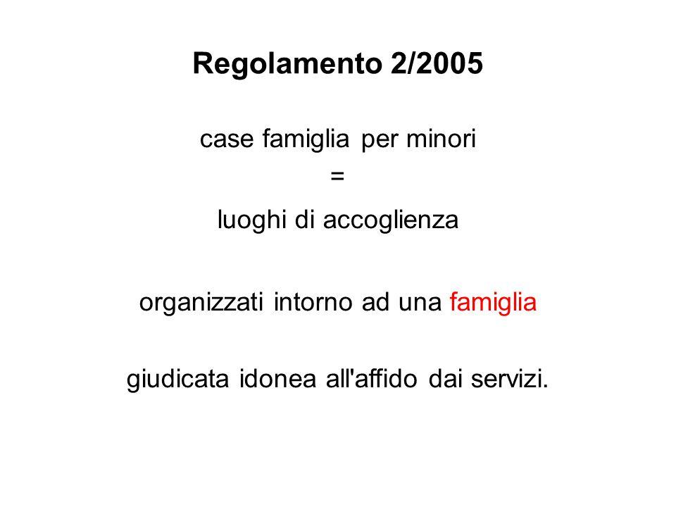 Regolamento 2/2005 case famiglia per minori = luoghi di accoglienza organizzati intorno ad una famiglia giudicata idonea all affido dai servizi.