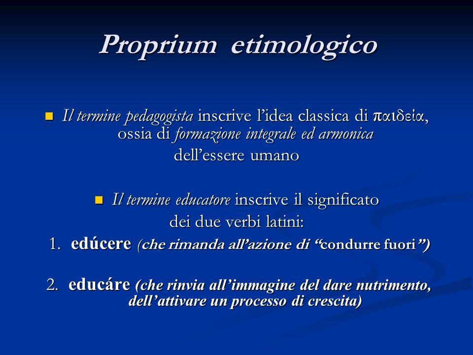 Proprium etimologico Il termine pedagogista inscrive l'idea classica di π α ι δεία, ossia di formazione integrale ed armonica Il termine pedagogista i
