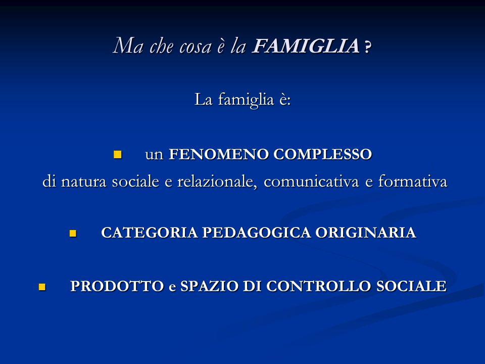 Ma che cosa è la FAMIGLIA ? La famiglia è: un FENOMENO COMPLESSO un FENOMENO COMPLESSO di natura sociale e relazionale, comunicativa e formativa di na