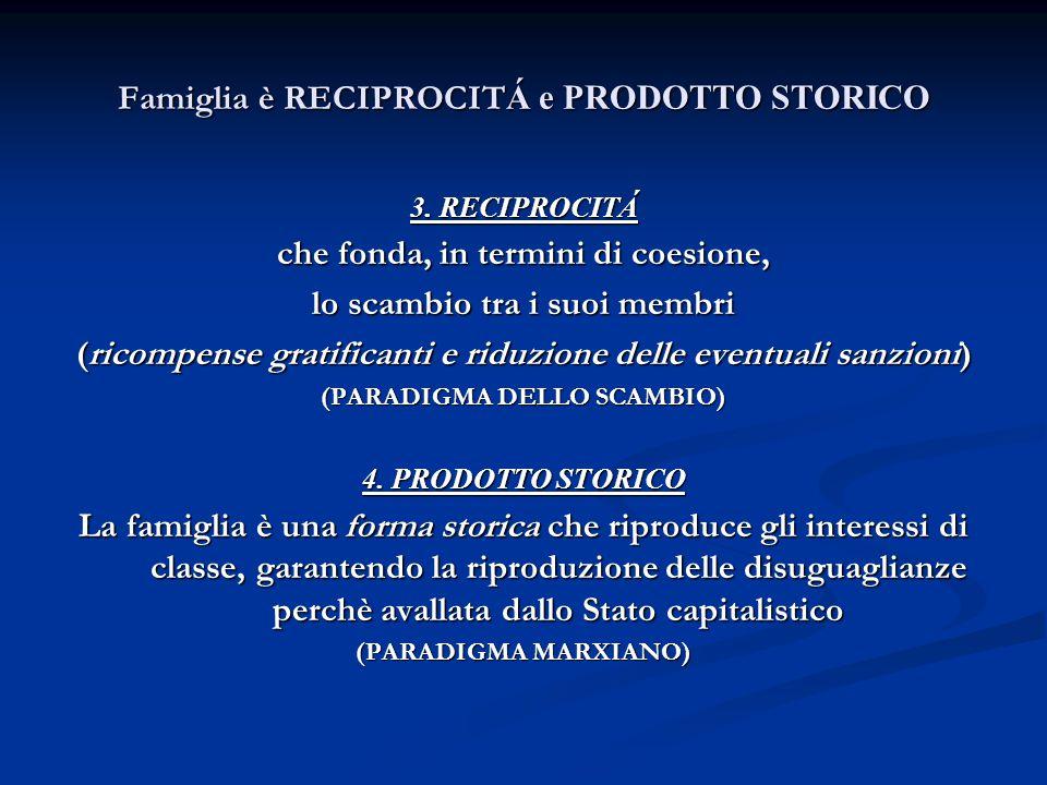 Famiglia è RECIPROCIT Á e PRODOTTO STORICO 3. RECIPROCITÁ che fonda, in termini di coesione, lo scambio tra i suoi membri (ricompense gratificanti e r