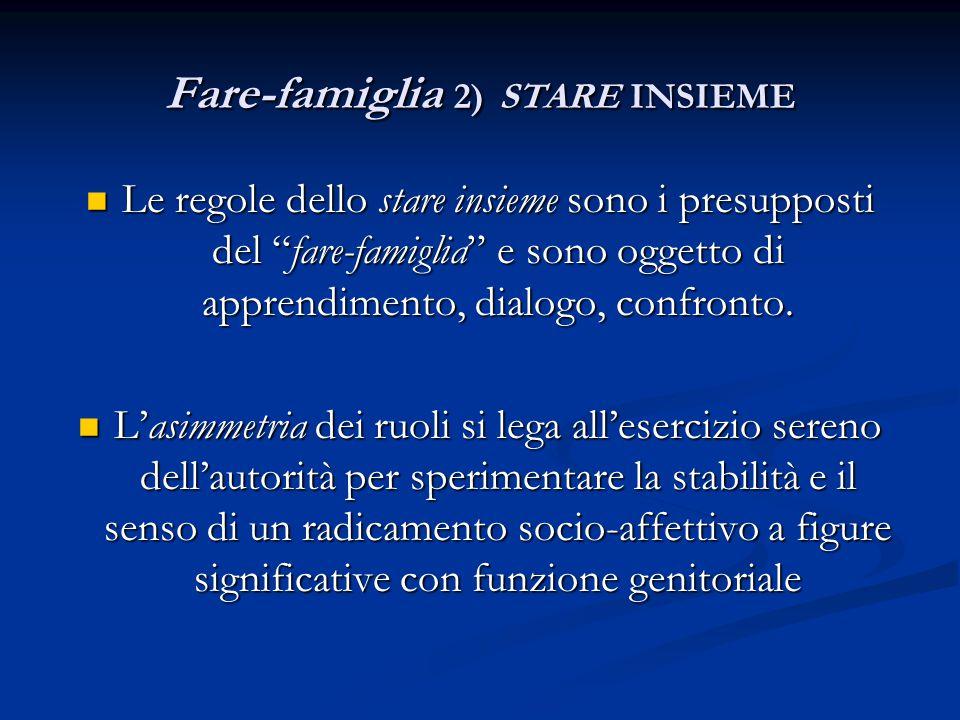 """Fare-famiglia 2) STARE INSIEME Le regole dello stare insieme sono i presupposti del """"fare-famiglia"""" e sono oggetto di apprendimento, dialogo, confront"""