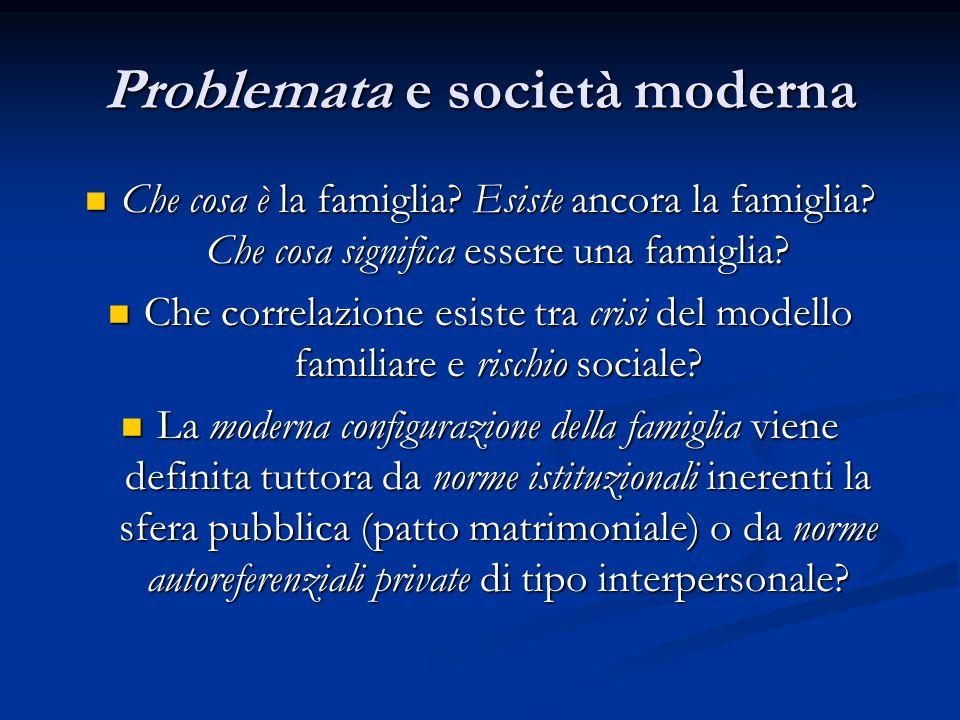 Problemata e società moderna Che cosa è la famiglia? Esiste ancora la famiglia? Che cosa significa essere una famiglia? Che cosa è la famiglia? Esiste