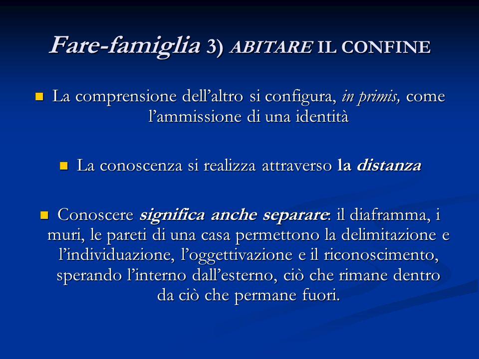 Fare-famiglia 3) ABITARE IL CONFINE La comprensione dell'altro si configura, in primis, come l'ammissione di una identità La comprensione dell'altro s