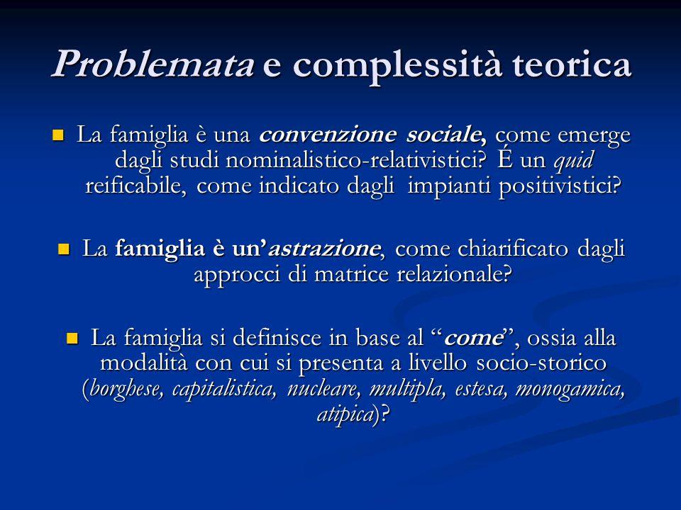 Problemata e complessità teorica La famiglia è una convenzione sociale, come emerge dagli studi nominalistico-relativistici? É un quid reificabile, co
