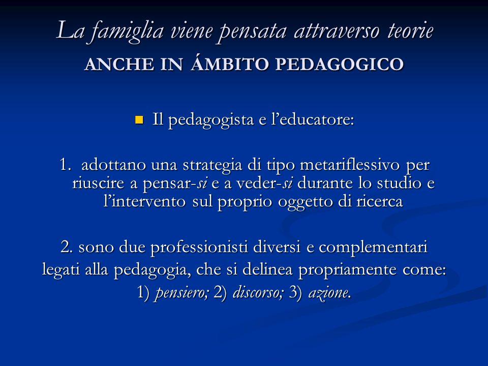 La famiglia viene pensata attraverso teorie ANCHE IN Á MBITO PEDAGOGICO Il pedagogista e l'educatore: Il pedagogista e l'educatore: 1. adottano una st