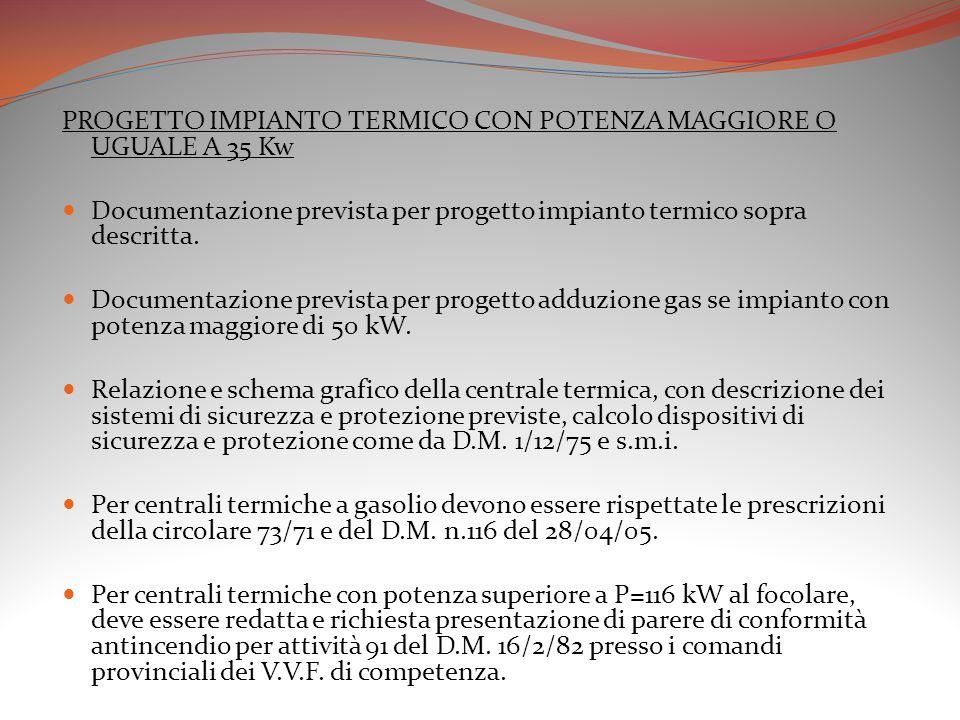PROGETTO IMPIANTO TERMICO CON POTENZA MAGGIORE O UGUALE A 35 Kw Documentazione prevista per progetto impianto termico sopra descritta. Documentazione